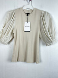 Who What Wear S Top Puff Sleeves Ivory Round Neck Ribbed Small Women $16.14