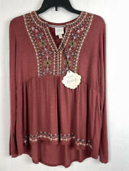 Knox Rose S Top Long Sleeve V Neck Floral Embroidered Small Women $18.04