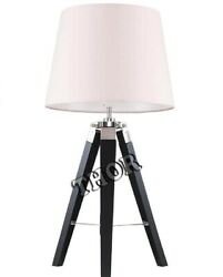 Collectible Office And Home Desk Wooden Tripod Table Lamp Nautical Lighting Decor