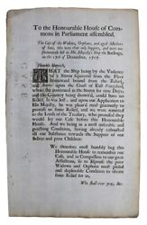 C.1718 Relief For Widows And Orphans Of Shipwrecked Sailors Rare Broadside