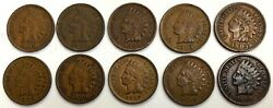 10 1900 -1909 Us Indian Head Cent 1c Coin Lot Condition Extremely Fine