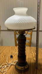 """Vintage Wooden Brass Table Lamp With White Milk Glass Melon Shade 26.5"""" Tall"""