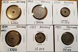 1924 And 1937 10 Ore 1925 1937 1953 1 Krone 1957 50 Ore - Norway Lot