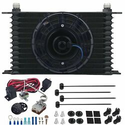 13 Row 10an Trans Oil Cooler Electric Fan Adjustable Thermo-stat Controller Kit