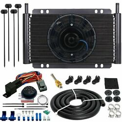 15 Row Auto Trans-mission Oil Cooler 6 Electric Fan Adjustable Temp Switch Kit