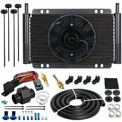15 Row 6an Trans-mission Oil Cooler Electric Fan 38mm Hose 180'f Temp Switch Kit