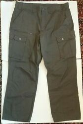 Duluth Trading Work Cargo Pants Mens Size 40x30 Army Green Snap Pockets