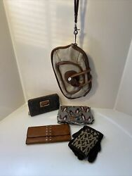 Fossil Canvas Cotton Clutch Cosmetic Bag Michael Kors Wallet amp; Jewelry Pouch Lot $49.99