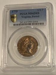 1773 Virginia Half Penny Pcgs Ms63rb With Period. Beautiful Coin