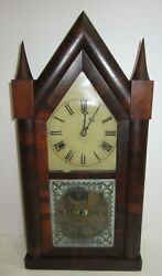 Antique W.m.l. Gilbert Double Fusee Steeple Clock 30-hour Time/gong Strike