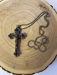Crucifix Over 75 Years Old Wood Inlay And Silver With Relics Inside Germany