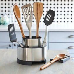 Pampered Chef Stainless Steel Rotating Utensil Holder Tool Turnabout Spoon Rest