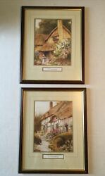 """Set Of 2 Framed 12"""" X 15""""art Prints By Ac Strachan Ireland Cottage Themed"""