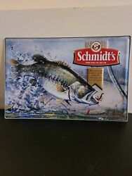 Rare Vintage Schmidt's Premium Beer, Bass Fishing Tin Sign. 18x12 Inches