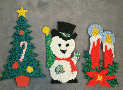 3 Vintage Melted Plastic Popcorn Christmas Wall Decorations Candle Tree Snowman