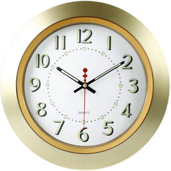 14 Inch Silent Non Ticking Quartz Bedroom Wall Clocks Digits And Pointer Gold