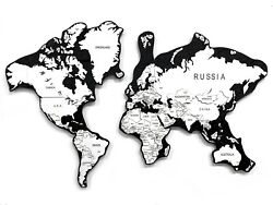 Multi-level Map Of The World Obsidian 3d Wall Art Decor Stylish Home Decoration