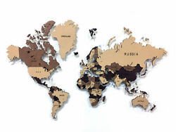 Multi-level Map Of The World Coffee 3d Wall Art Decor Office Home Decoration