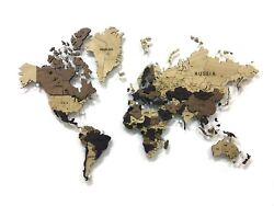 World Map Made Of Solid Oak Multi-level 3d Wall Art Decor Office Home Decoration