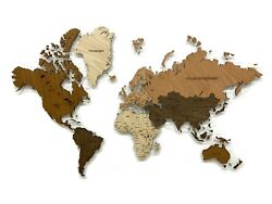 World Map Made Of High Quality Wood 3d Wall Art Decor Office Home Decoration