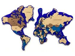 Multi-level Map Of The World Sapphire 3d Wall Art Decor Office Home Decoration