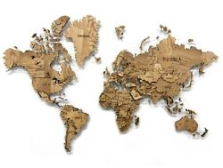 Wooden World Map Made Of Solid Ash Multi-level 3d Wall Art Decor Home Decoration