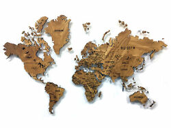 World Map Made Of Solid Mountain Elm 3d Wall Art Decor House Decoration