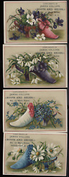 Victorian Trade Card 1880s Lot 4 James Collins Boots Shoes Brockport Ny Vtc-b113