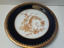 Small Plate Cobalt Gold Pheasant Bird Signed Camille Tharaud Limoges Bruxelles
