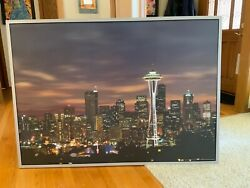 """Ikea Seattle Space Needle Photo Canvas And Aluminum Frame Large Picture Art 55x39"""""""