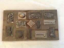 Antique Vintage Candy Molds - Baseball, Automotive, And More 13 Mounted + 1