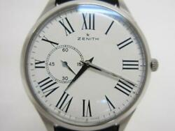 Zenith Elite Ultra Thin 03.2010.681 Automatic White Dial Stainless Leather Men's