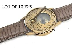 Lot Of 10 Pcs Fashion Luxury Men/women Watch Brass Sundial Compass With Leather