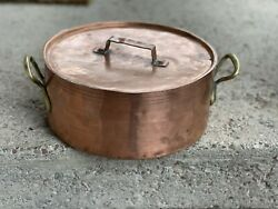 Antique French Copper Tin Stock Pot And Lid 5qt Rare Htf Shops Fast Today
