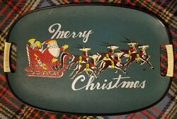 Vintage Mcm 1960s Merry Christmas Santa In His Sleigh Serving Tray Made In Japan