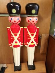2 Nutcrackers Used Collectibles Blow Mold Toy Soldier 32 Inches 7508