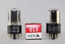 1954 Vintage Matched Pair Ge Rca 6sn7gta Test Strong 96-100 New Nos