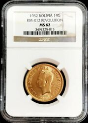 1952 Gold Bolivia 14 Grams 20 Bolivianos Revolution Coin Ngc Mint State 62