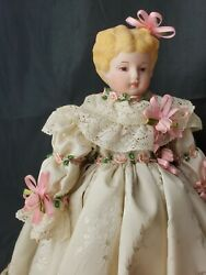 Vintage Reproduction antique China Head Doll Blonde hair GORGEOUS DRESS