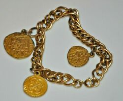 Gold Tone 3 Coin Charm Bracelet Faux Coins Costume Jewelry