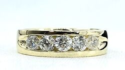 1.55 Ct 5 X Diamond Mens 6 Mm Band Ring Solid 14 K Yellow Gold See Video