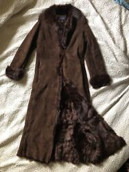 Banana Republic Nwot Womenand039s Brown Long Shearling Fur Coat Small Excellent