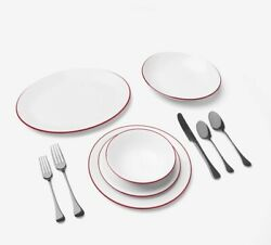 Made In Cookware Tabletop Set 74 Piece - White With Red Rim