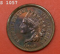 1864 Bronze Indian Head Cent Vch Proof Great Color Free S/h After 1st Item