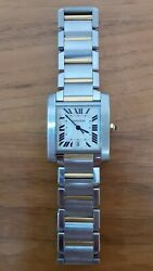 Tank Francaise Large Automatic Stainless Steel And 18k Yellow Gold Watch