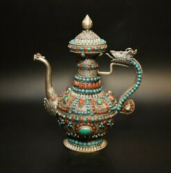 Tibet Pure Silver Inlay Ruby Gem Turquoise Dragon Head Wine Pot Teapot Old Nepal