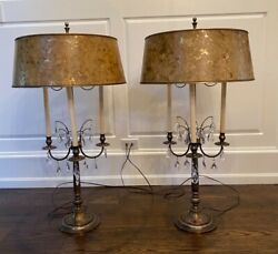 Rare Stiffel Large Brass And Crystal Bouillotte Table Lamps Pair, 1950's