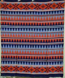 Vintage 40's Beacon Mills Camp Blanket Gorgeous Colors And Indian Design