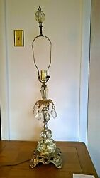 Vintage Ef And Ef Industries Mid Century Table Lamp W/hanging Crystals 34
