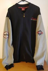 Mens 3xl Indian Scout Motorcycle Jacket, Cotton/poly Zip Patches Black/tan